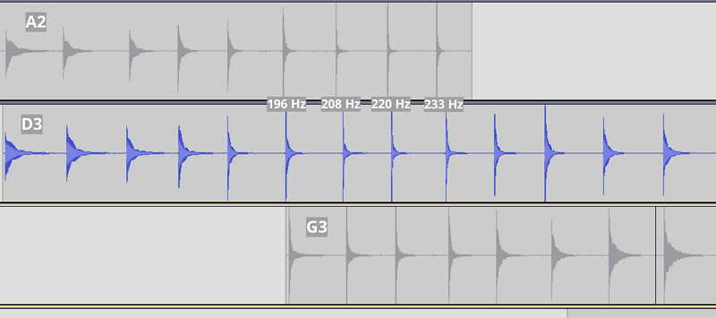 Intonation waveform data from A2, D3, and G3. Tracks are lined up so similar scale tones are vertically aligned.